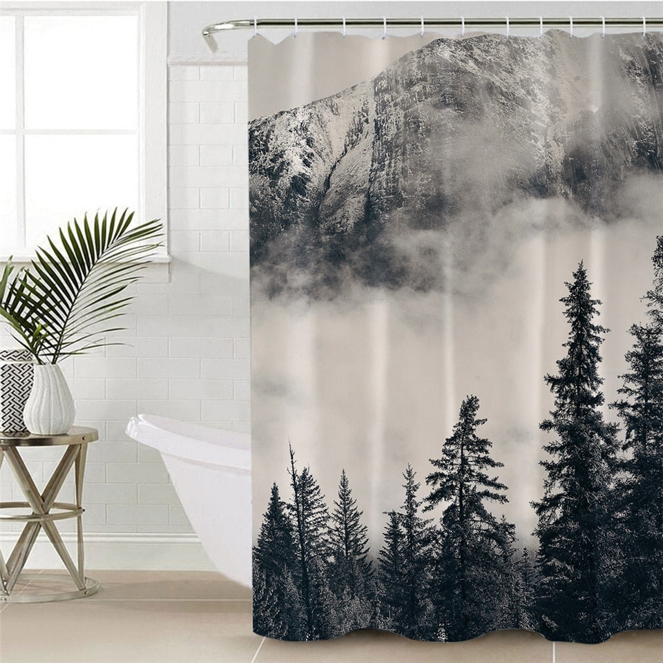 Black & White Cloudy Mountain Forest Bathroom Shower Curtain