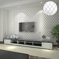 Black & White Moroccan Quarterfoil Pattern Wallpaper