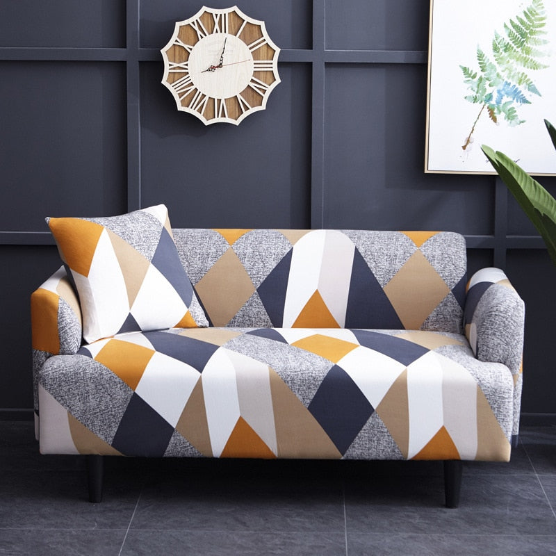 Geometric Orange Diamond Pattern Sofa Couch Cover