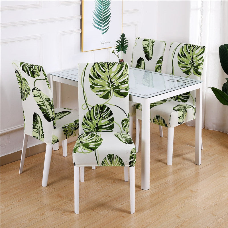 Floating Green Palm Leaf Pattern Dining Chair Cover