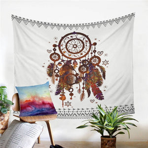 White Feather Dreamcatcher Wall Tapestry