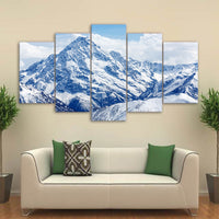 5-Piece Blue Snow Mountain Top Canvas Wall Art
