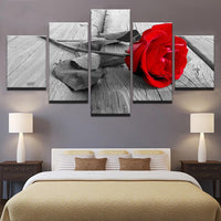 5-Piece Gray & White Red Rose Print Canvas Wall Art