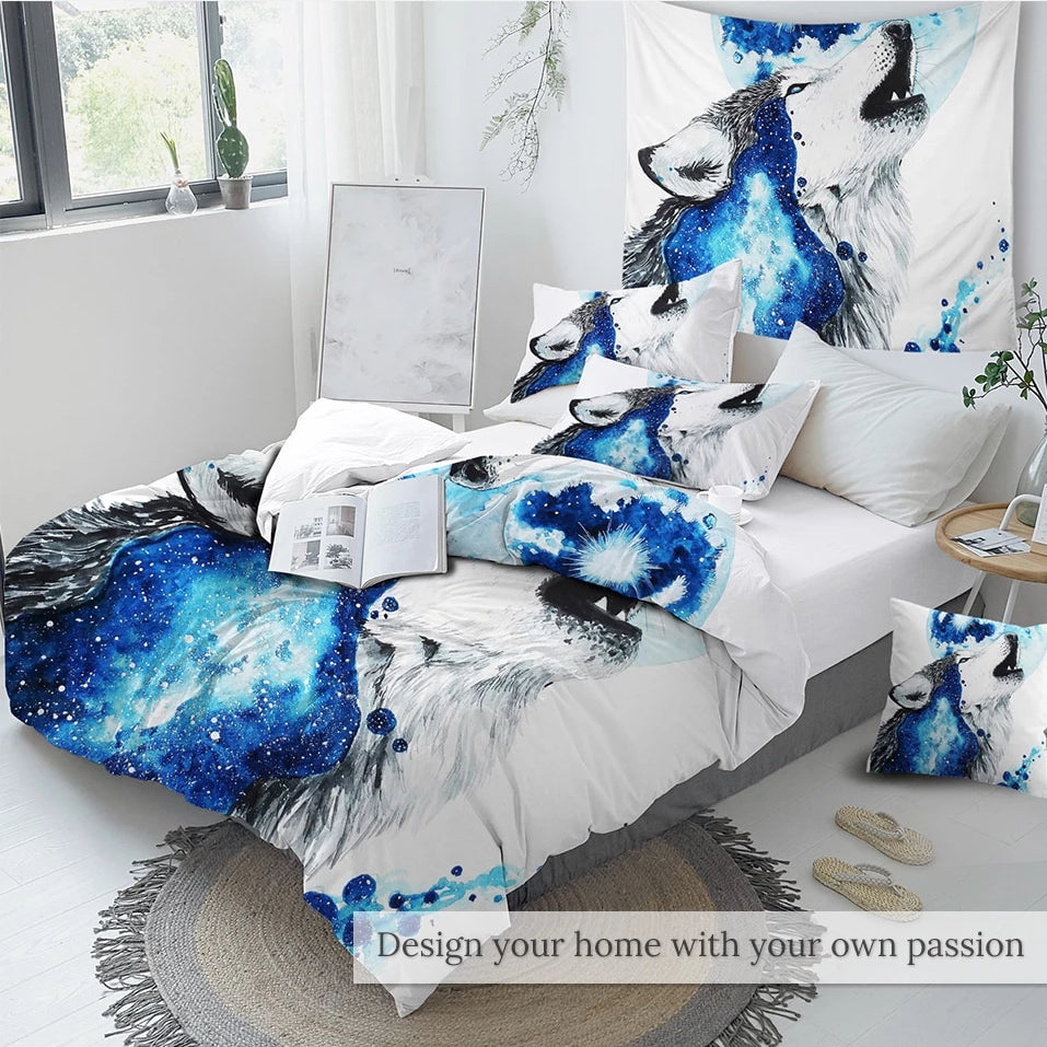 3-Piece Calling The Moon by Scandy Girl Wolf Duvet Set