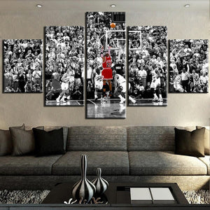 5-Piece Black & White Michael Jordan Shot Canvas Wall Art