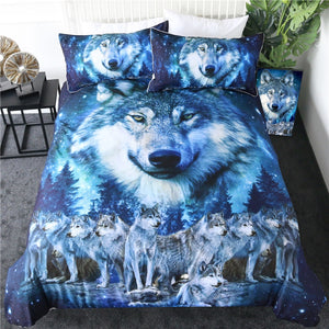 3-Piece Blue Night Sky Wolf Pack Duvet Cover Set