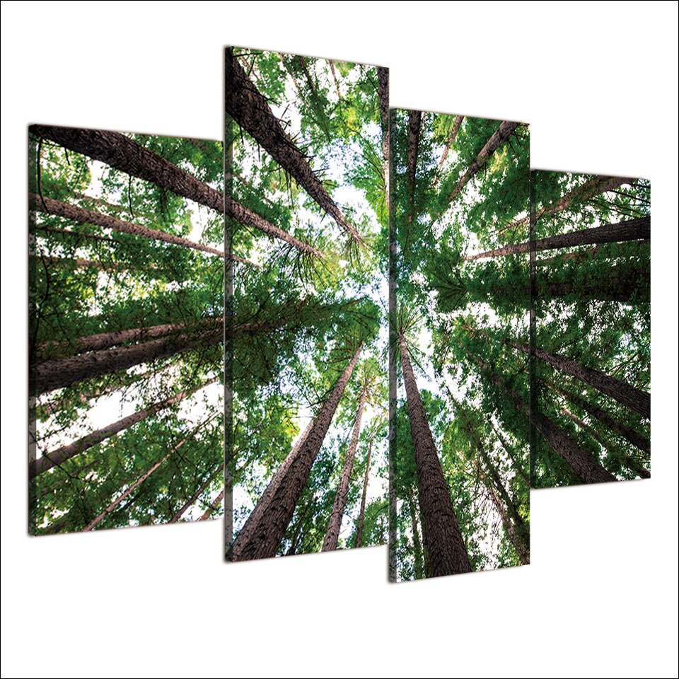 4-Piece Green Forest Canopy Canvas Wall Art
