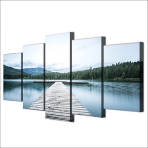 5-Piece Evergreen Mountain Lake Dock Canvas Wall Art
