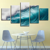 5-Piece Blue Cresting Ocean Wave Canvas Wall Art