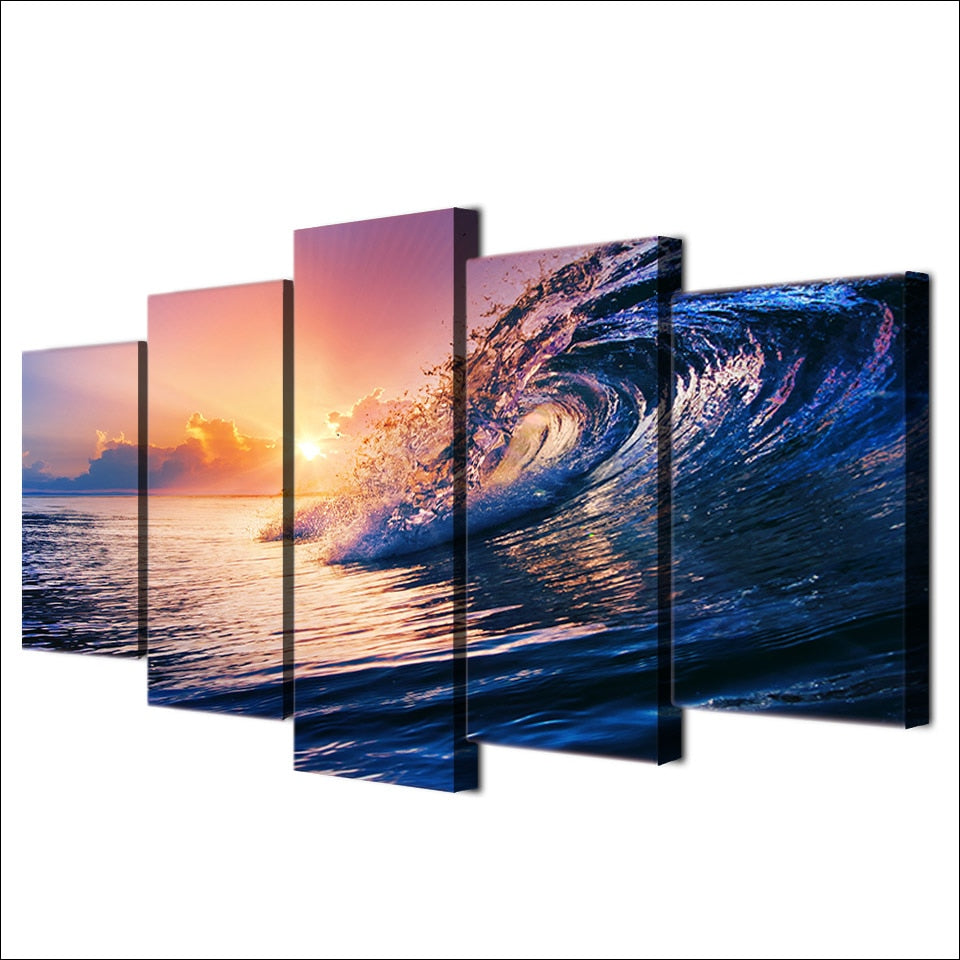 5-Piece Blue Ocean Wave Sunset Canvas Wall Art