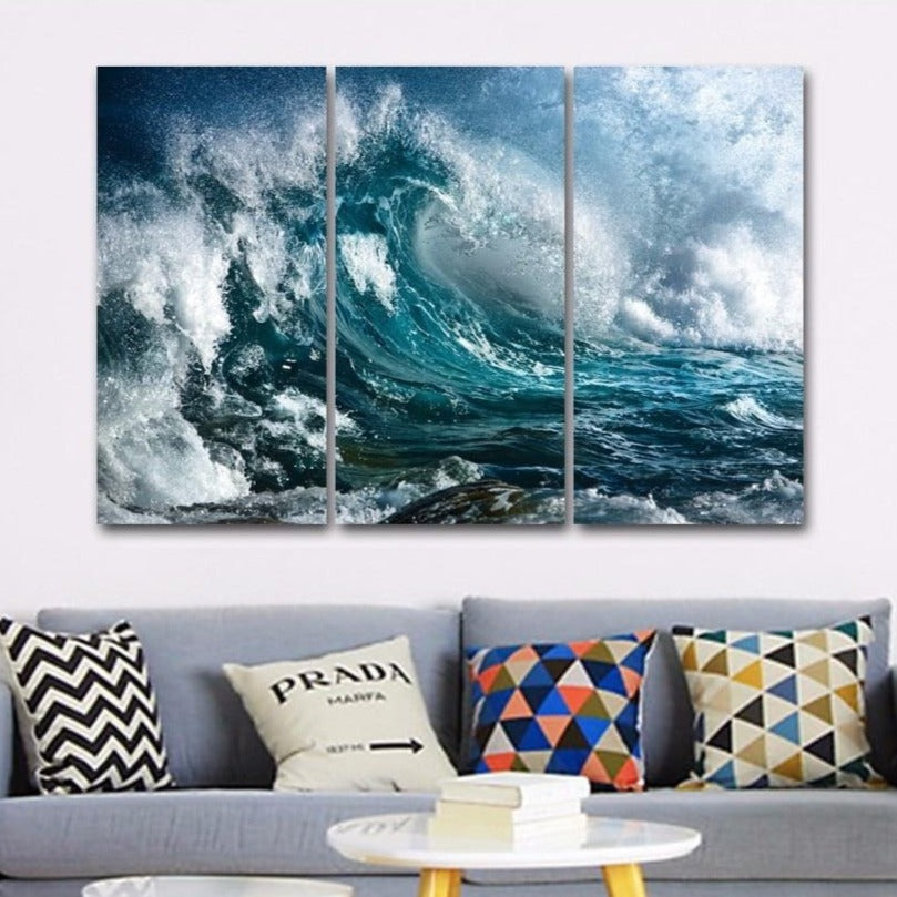 3-Piece Rough Blue Sea Waves Canvas Wall Art