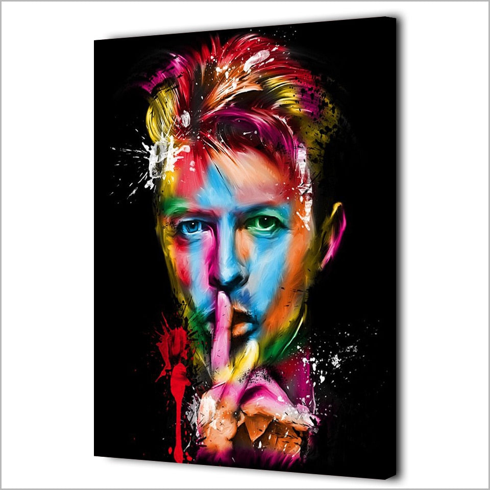 Colorful Abstract David Bowie Portrait Canvas Wall Art