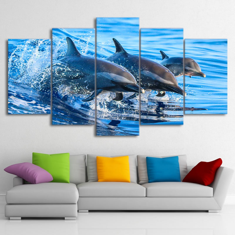 5-Piece Blue Ocean Jumping Dolphins Canvas Wall Art