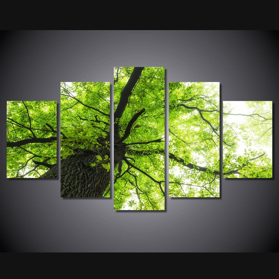 5-Piece Giant Green Oak Tree Canvas Wall Art