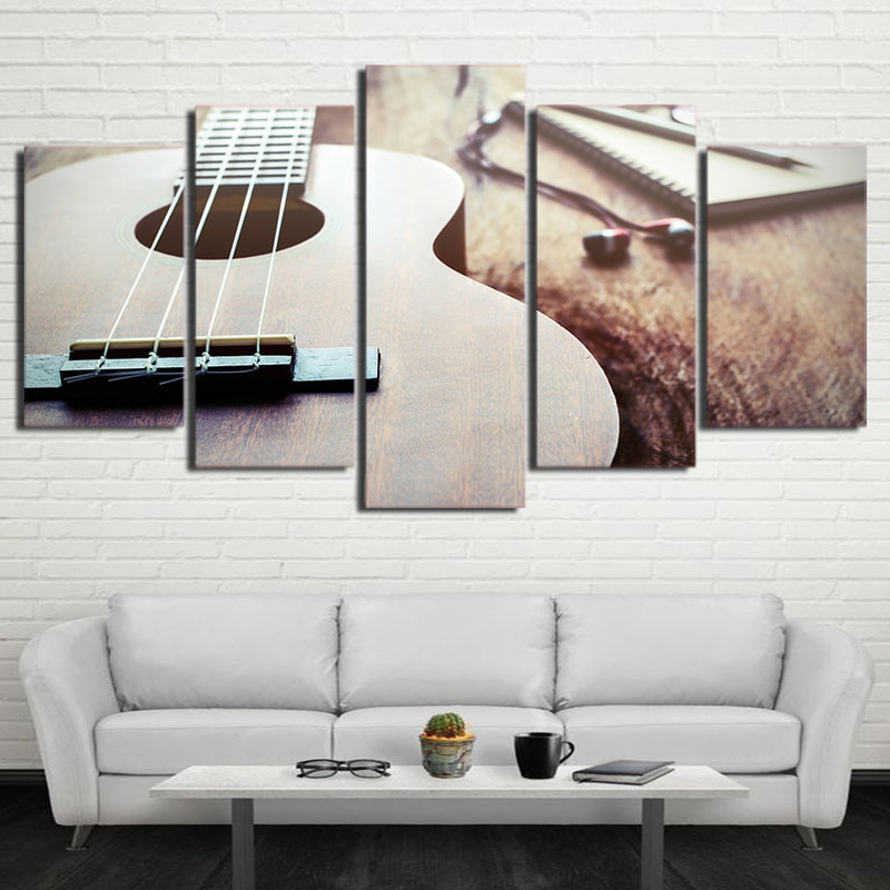 5-Piece Musician's Wood Acoustic Guitar Canvas Wall Art