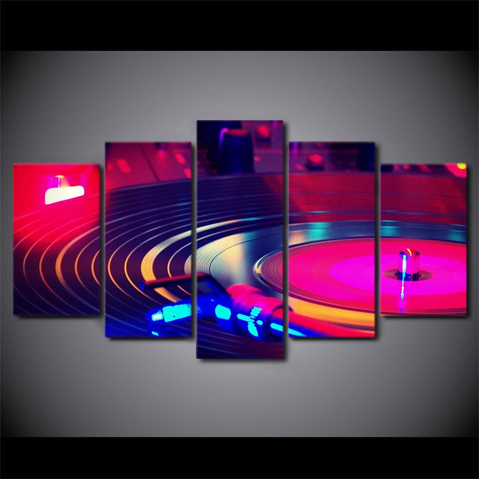 5-Piece Neon DJ Record Turntable Canvas Wall Art