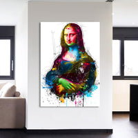 Colorful Modern Abstract Mona Lisa Canvas Wall Art