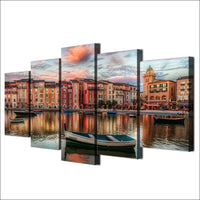 5-Piece Venice City Row Boat Print Canvas Wall Art