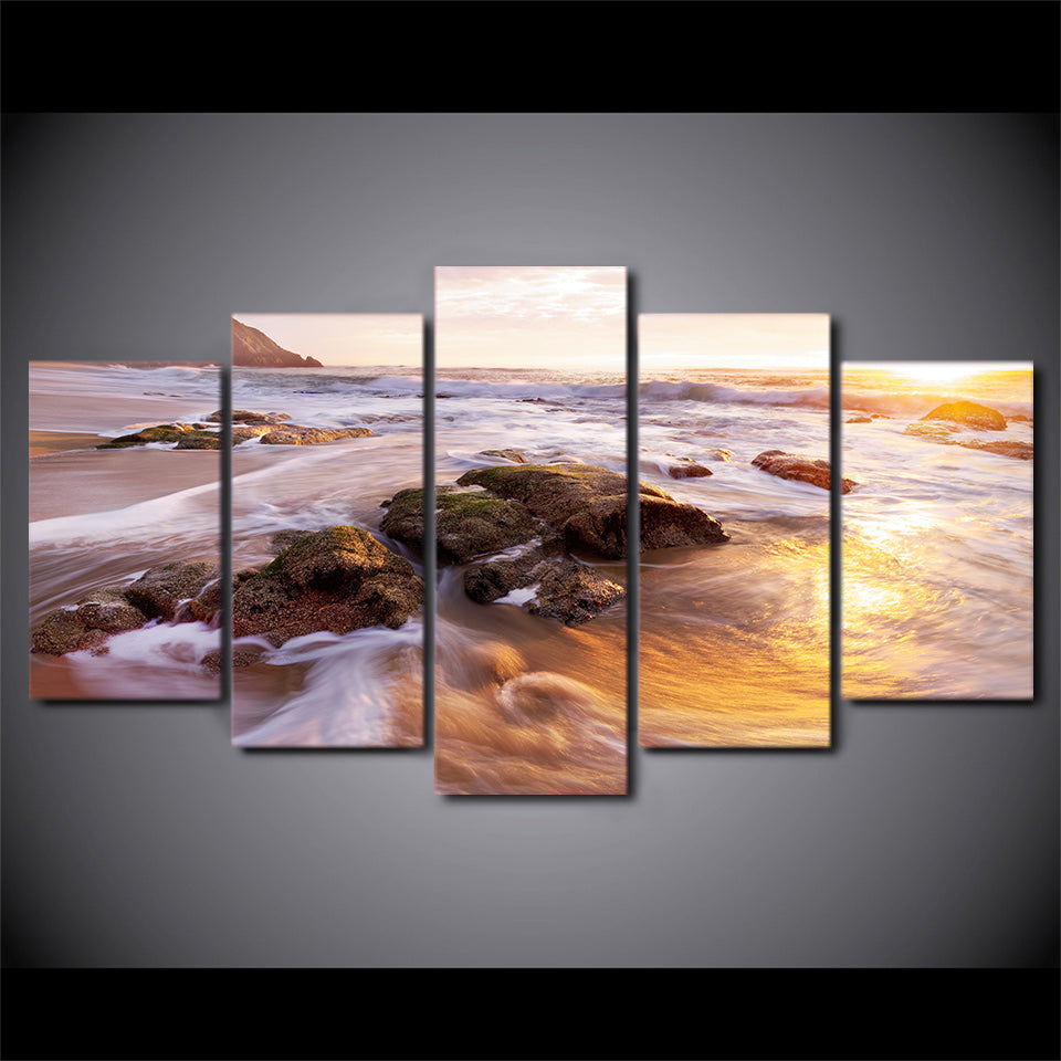 5-Piece Rocky Coastal Beach Tide Canvas Wall Art