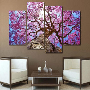 4-Piece Purple Jacaranda Tree Canvas Wall Art