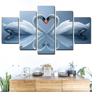 5-Piece White Swan Love Reflection Canvas Wall Art