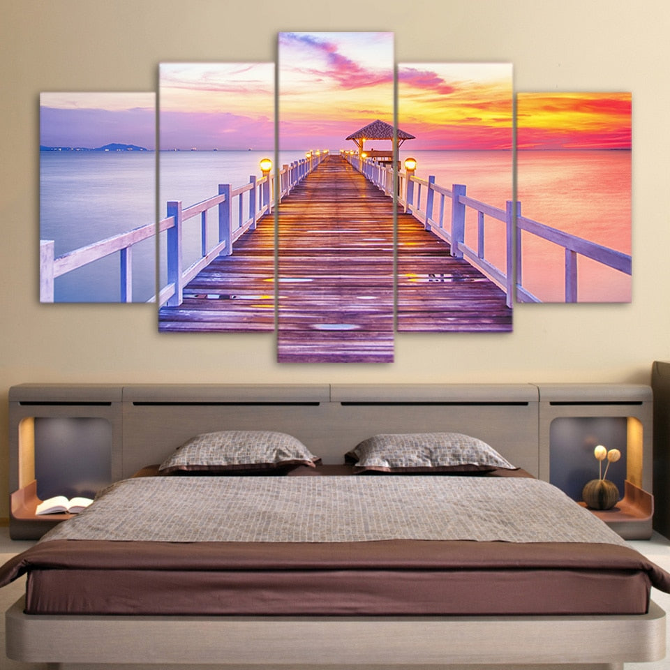 5-Piece Colorful Coastal Pier Sunset Canvas Wall Art