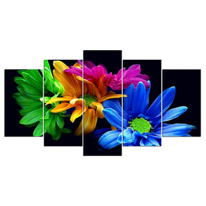 5-Piece Colorful Daisy Flowers Canvas Wall Art