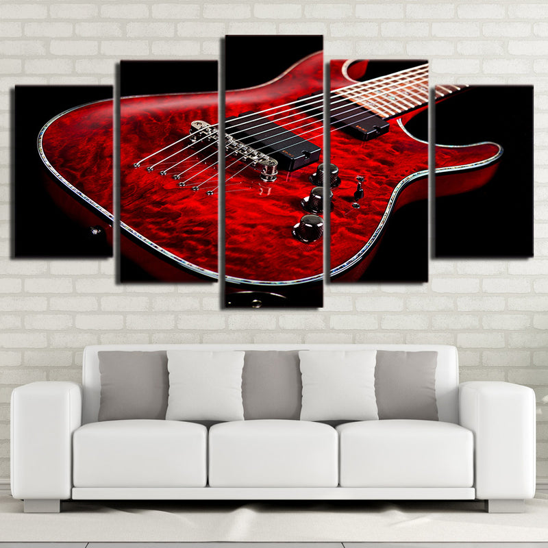 5-Piece Black & Red Electric Guitar Canvas Wall Art