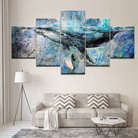 5-Piece Blue Abstract Ocean Whale Canvas Wall Art