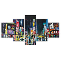 5-Piece Abstract NYC Times Square Canvas Wall Art