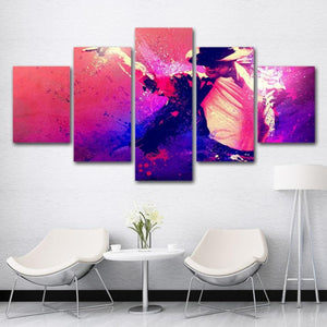 5-Piece Pink Abstract Michael Jackson Canvas Wall Art