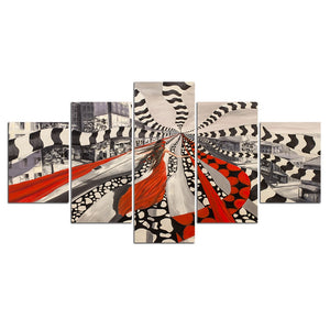 5-Piece Black & White Girl In Red Abstract Canvas Wall Art