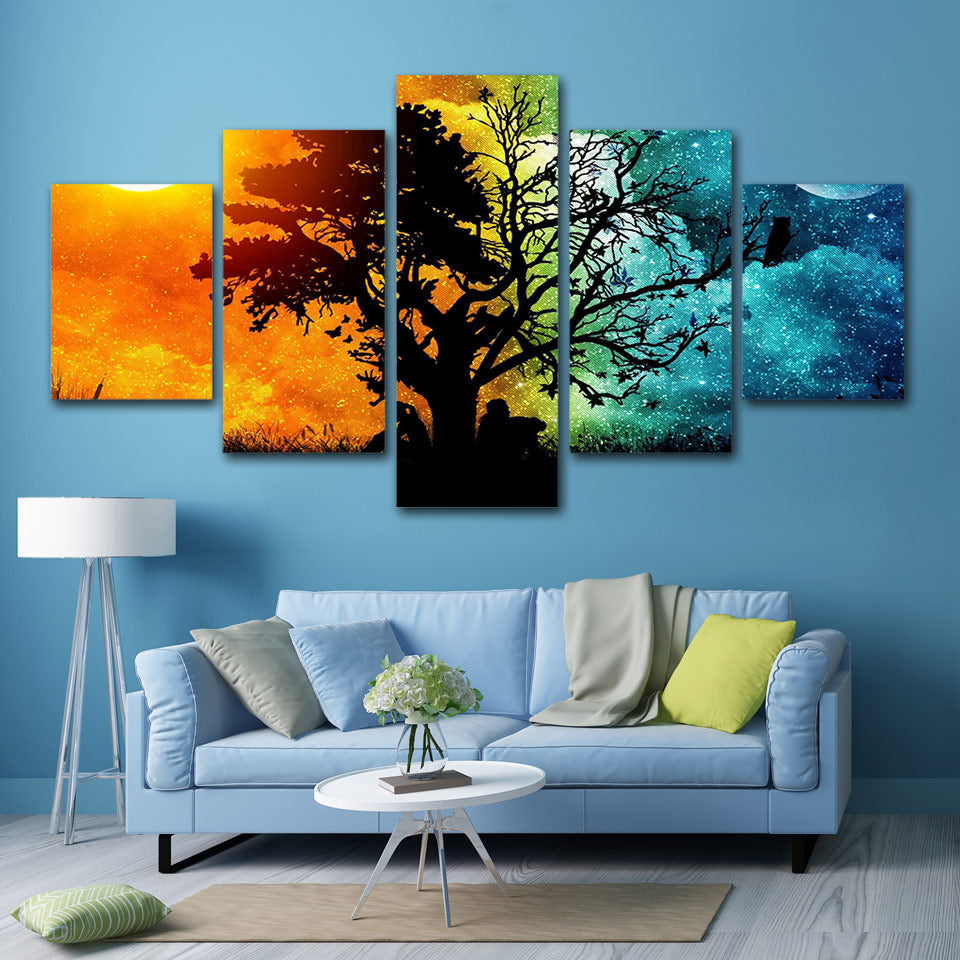 5-Piece Seasonal Time Split Tree Canvas Wall Art