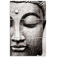 3-Piece Black & White Metal Buddha Face Canvas Wall Art