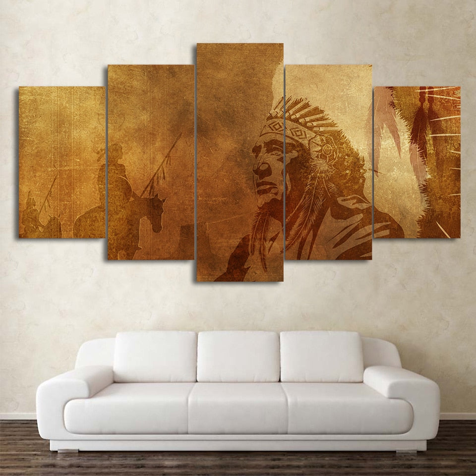 5-Piece Vintage Native American Print Canvas Wall Art