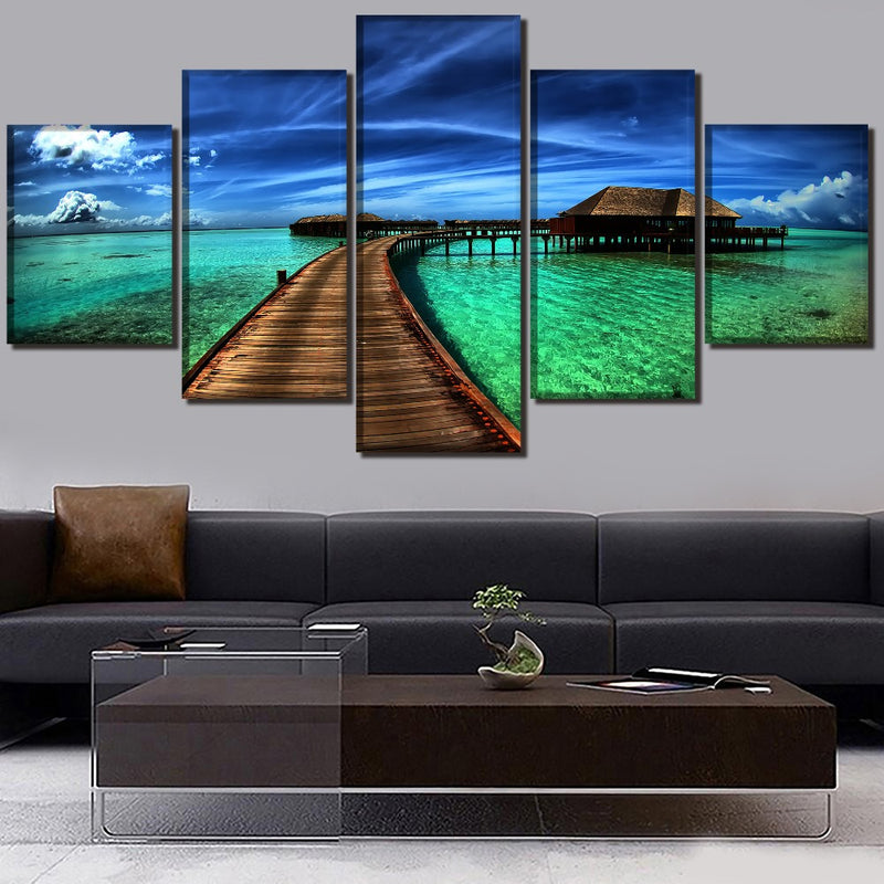 5-Piece Tropical Ocean Hut Escape Canvas Wall Art