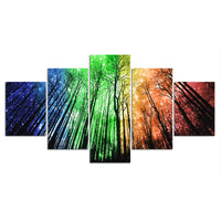 5-Piece Colorful Rainbow Forest Canvas Wall Art