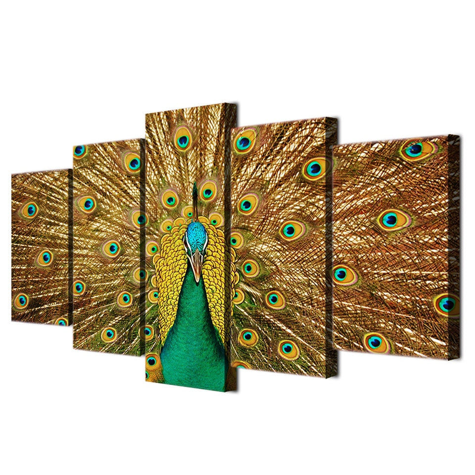 5-Piece Green / Gold Peacock Feathers Canvas Wall Art