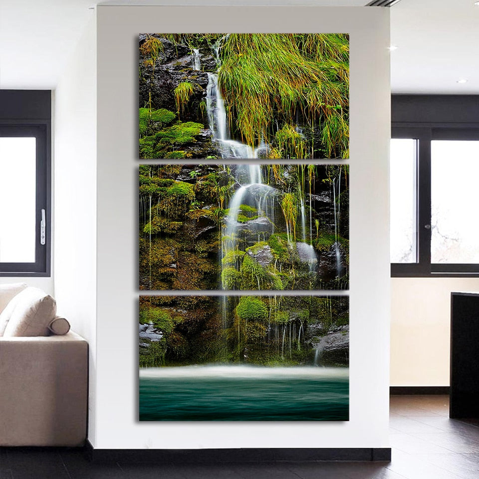 3-Piece Vertical Green Tropical Waterfall Canvas Wall Art