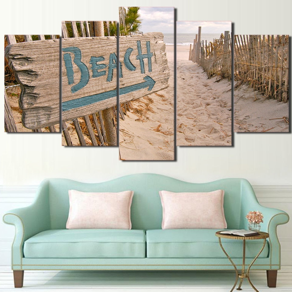 5-Piece Sandy Coastal Beach Sign Canvas Wall Art