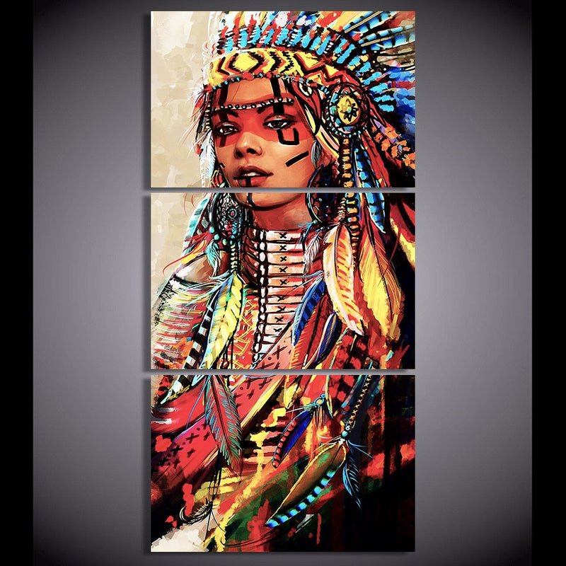 3-Piece Multi-Color Female Native Indian Warrior Canvas Wall Art