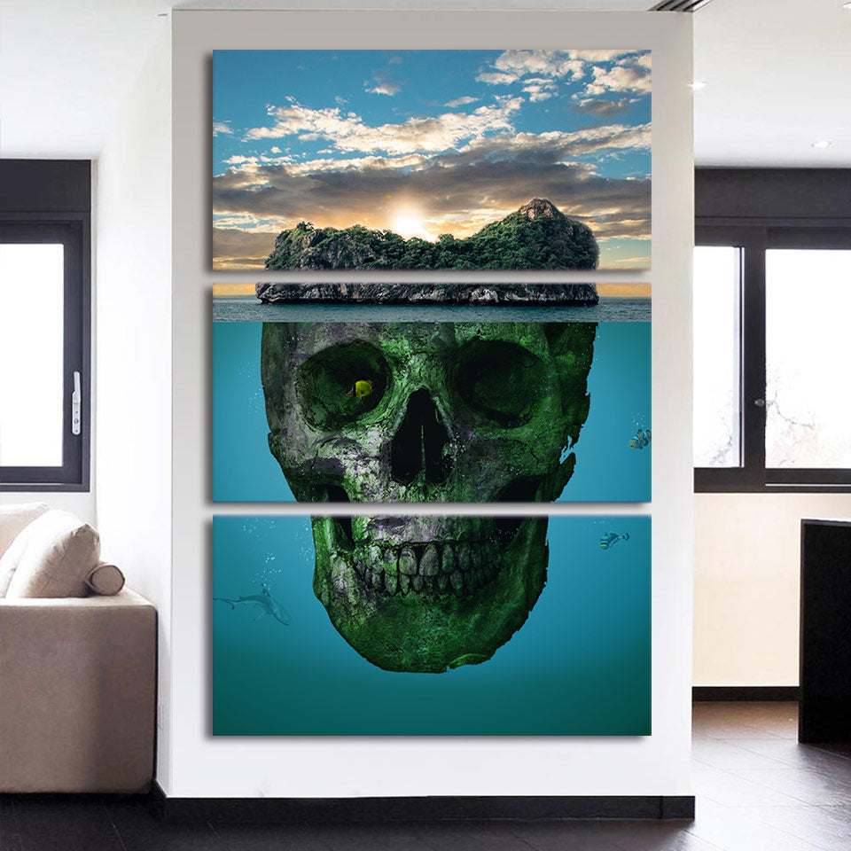 3-Piece Vertical Underwater Skull Island Canvas Wall Art