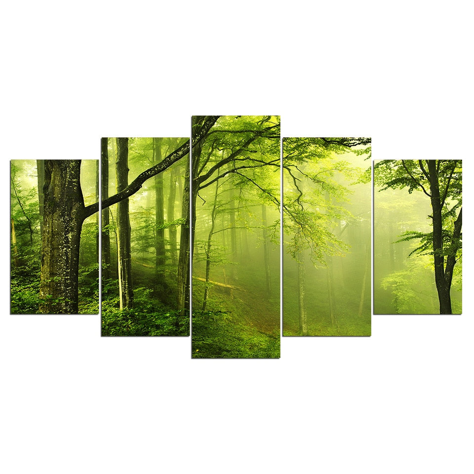 5-Piece Foggy Green Forest Mist Canvas Wall Art