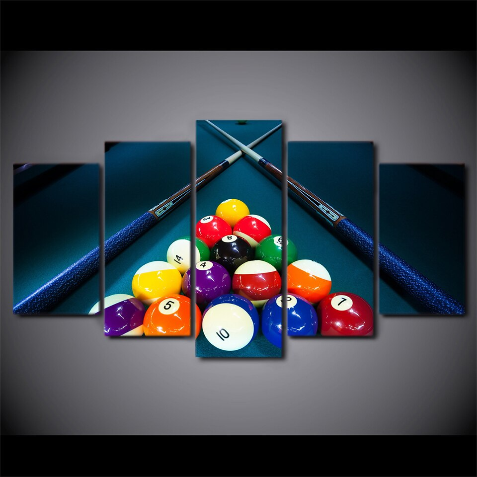 5-Piece Glowing Billiard Pool Balls Canvas Wall Art