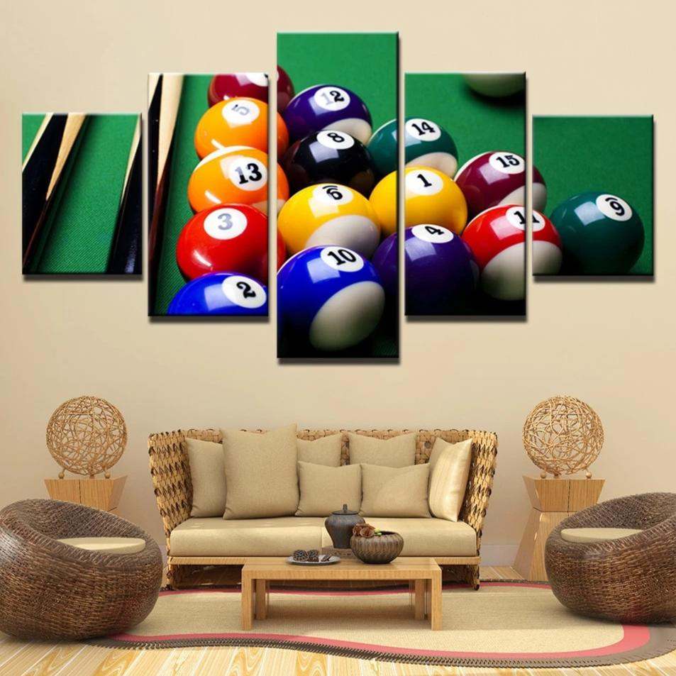 5-Piece Colorful Pool Billiard Balls Canvas Wall Art