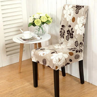 Light Brown Floral Print Dining Chair Cover