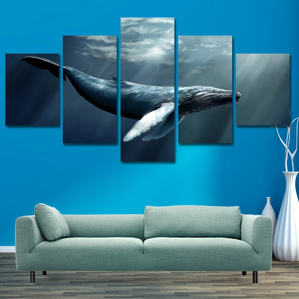 5-Piece Illuminated Blue Whale Canvas Wall Art