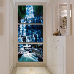 3-Piece Vertical Cascading Blue Waterfall Canvas Wall Art