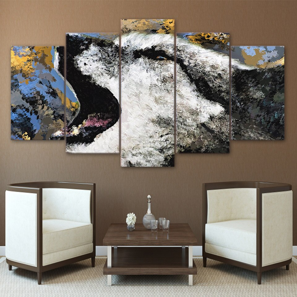 5-Piece Painted Abstract Howling Wolf Canvas Wall Art