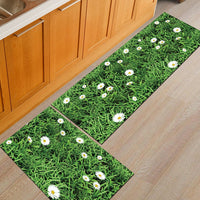 Wild Green Grass Daisy Print Door Mat / Floor Runner
